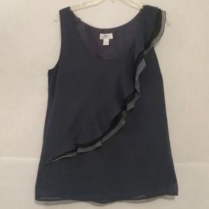 LOFT Ann Taylor blue tank top dressy ruffle career